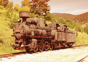 Old locomotive on Shargan eight railway, Serbia