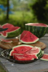 watermelon cutting in nature