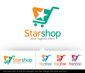 Star Shop Concept Logo Design Template Vector