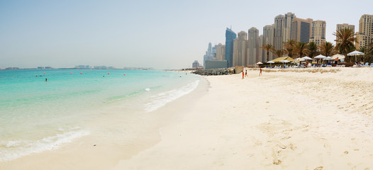 Panorama of the beach at Jumeirah Beach Residence, Dubai, UAE