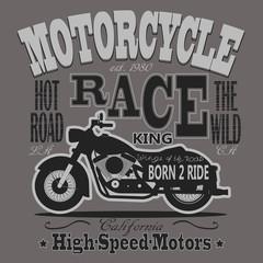 Motorcycle Racing Typography Graphics. California Motors