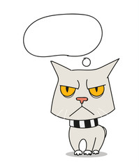 Cool sad cat vector illustration. Template for a text
