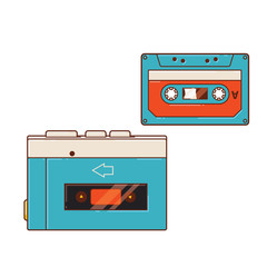 Portable audio cassette player. A cassette player and a cassette