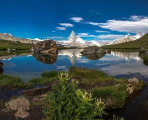 Swiss beauty, Stellisee lake with Matterhorn mount reflexion