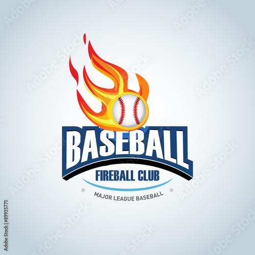 baseball fireball sport badge logo design template and some elements
