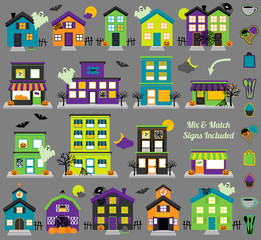 Vector Halloween Town with Haunted Houses, Shops and Mix and Match Signs