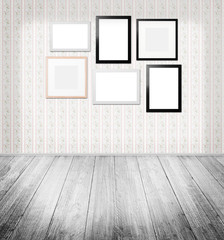 emty room with different frames