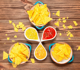 Plate of nachos with different dips