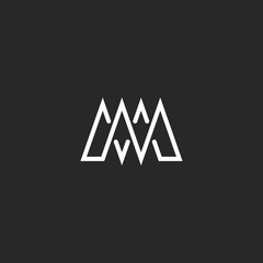 M letter monogram mockup logo, intersection thin line, template emblem for business card