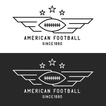 American football ball logo, flying with wings, mockup sport tournament thin line emblem, black and white background
