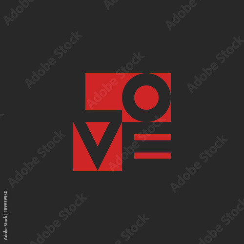 Love Word Mockup Print Black And Red Graphic Design For T Shirt Or