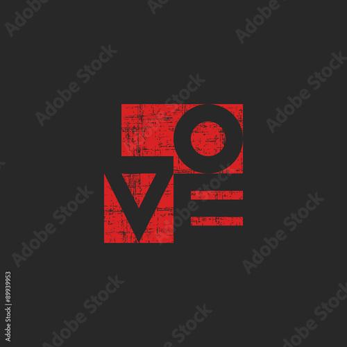 Grange old poster shabby red word love for mockup tshirt print