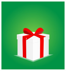 Minimalist Greeting Card with Gift Box Green Background 2 EPS10
