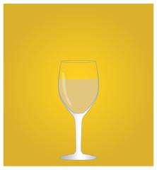Minimalist Drinks List with White Wine Golden Background EPS10