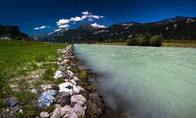 Swiss beauty, Aare river flowing from Grimselsee glacier water