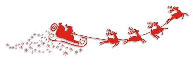 Weihnachtsmann mit Schlitten und Rentieren