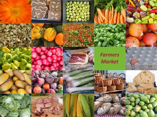 Collage of pictures showing a colorful beauty of a farmer market.