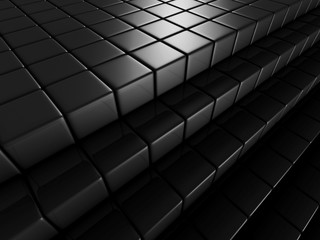 Abstract Dark Background Of Metallic Cubes
