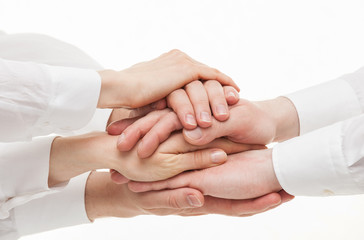 Group of businessmen's hands