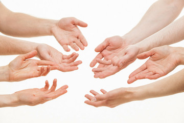 Human hands demonstrating a gesture of a discussing