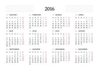 Simple Calendar for 2016. 12 Months. Week Starts Monday