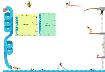 """Frame, people playing in the swimming pool, """"A4"""" horizontal and vertical or square frame"""