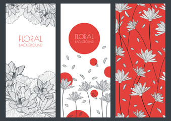 Set of vector floral banner backgrounds and seamless pattern. Li