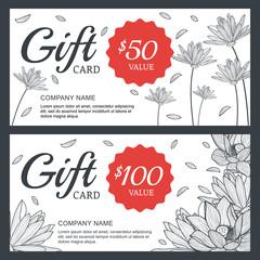 Vector floral gift voucher or card background template. Vintage