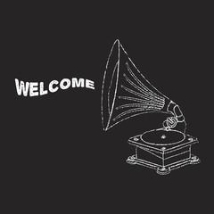 Vector old gramophone