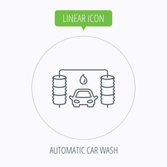 Automatic carwash icon. Cleaning station sign.