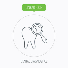 Dental diagnostic icon. Tooth hygiene sign.