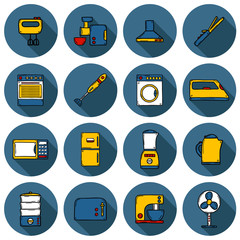 Set of objects in hand drawn cartoon style on home appliance