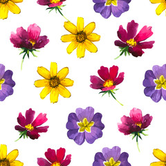 Vector illustration with seamless flower background.