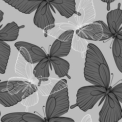 beautiful monochrome black and white seamless background with flying butterflies