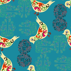 Birds and branches on a blue background.Seamless.