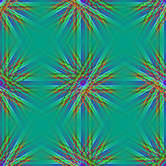 An abstract pattern of colored lines. The green background.