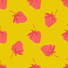 Strawberries on a yellow background.
