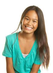 Beautiful Happy Smiling Filipino Girl on a White Background