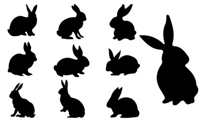 Rabbit Silhouette, set vector Animals Icons