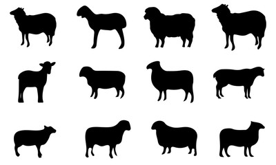 Sheep Silhouette, set vector Animals Icons