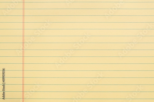 Blank Yellow Notebook Page With Lines And Red Margin Background