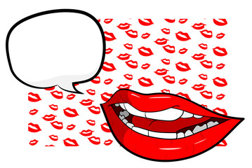 Sexy Lips With Text,  a hand drawn vector illustration of sexy lips with text over lips-themed background (editable).