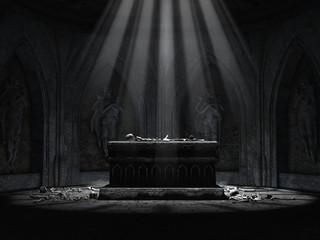 Ciemny ołtarz w krypcie cmentarnej z czaszkami i kośćmi leżącymi na podłodze