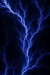 Digital fractal of electric blue lightning, blood veins.