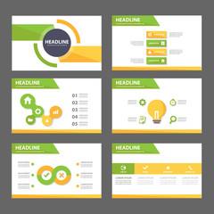 Green and yellow Multipurpose presentation template flat design set for advertising marketing