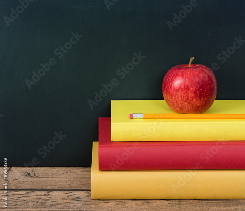 Apple And Pencil On The Stack Of Books Chalkboard Background