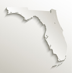 Florida map card paper 3D natural vector