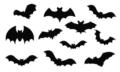Bat Silhouette, set vector Animals Icons
