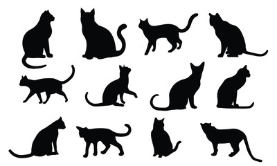 Cat Silhouette, set vector Animals Icons