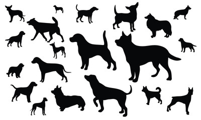 Dog Silhouette, set vector Animals Icons